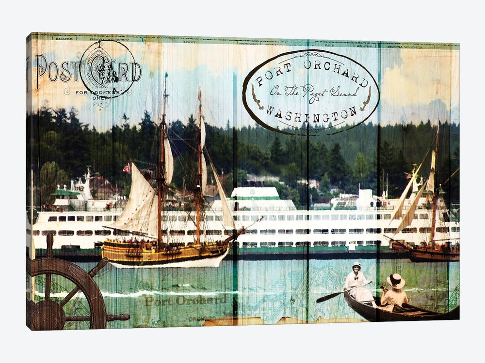 Tall Ships on the Sound by Sandy Lloyd 1-piece Canvas Art Print