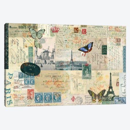 Postcards Of Paris I Canvas Print #LOY57} by Sandy Lloyd Art Print