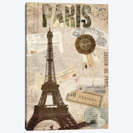 Postcards Of Paris XIV Canvas Print #LOY70} by Sandy Lloyd Canvas Art