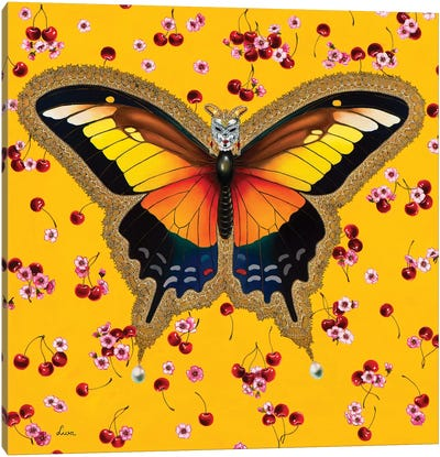 Butterfly With Cherries Canvas Art Print