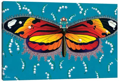 Butterfly With Lily's Of The Valley Canvas Art Print