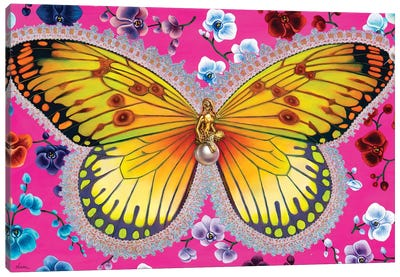 Butterfly With Orchids Canvas Art Print
