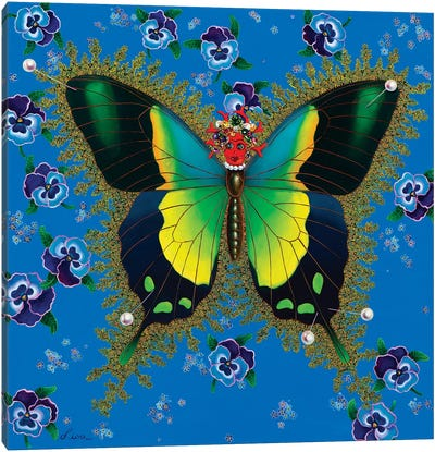 Butterfly With Pansies Canvas Art Print