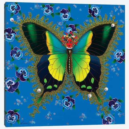 Butterfly With Pansies Canvas Print #LPF17} by Liva Pakalne Fanelli Canvas Print