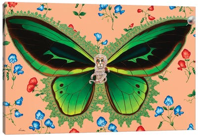 Butterfly With Sweet Peas Canvas Art Print