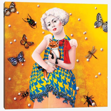 Girl With Fox Canvas Print #LPF28} by Liva Pakalne Fanelli Art Print