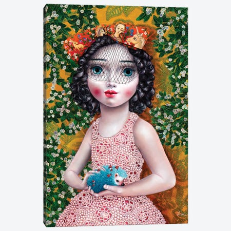 Girl with Hedgehog Canvas Print #LPF29} by Liva Pakalne Fanelli Canvas Art Print