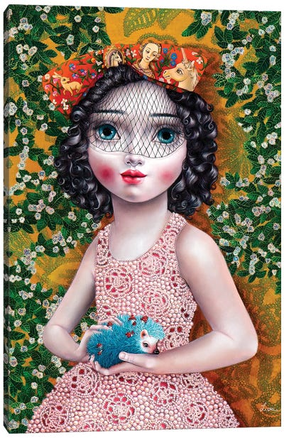 Girl with Hedgehog Canvas Art Print