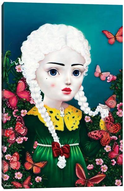 Girl With Pink Butterflies Canvas Art Print