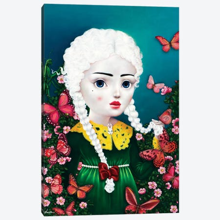 Girl With Pink Butterflies Canvas Print #LPF30} by Liva Pakalne Fanelli Canvas Art