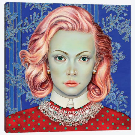 Girl With Pink Hair Canvas Print #LPF31} by Liva Pakalne Fanelli Canvas Wall Art