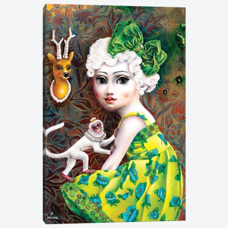 Girl With White Monkey Canvas Print #LPF32} by Liva Pakalne Fanelli Canvas Wall Art