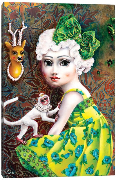 Girl With White Monkey Canvas Art Print