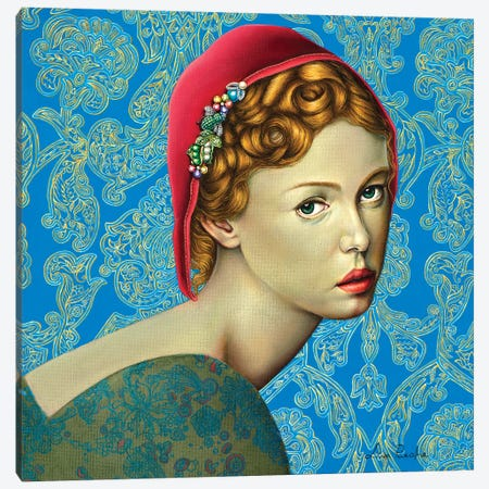 Red Riding Hood Canvas Print #LPF47} by Liva Pakalne Fanelli Canvas Wall Art