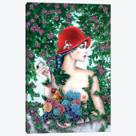 Girl With A Red Hat Canvas Print #LPF62} by Liva Pakalne Fanelli Canvas Art Print