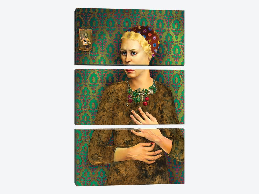 Girl With Baroque Necklace by Liva Pakalne Fanelli 3-piece Canvas Wall Art