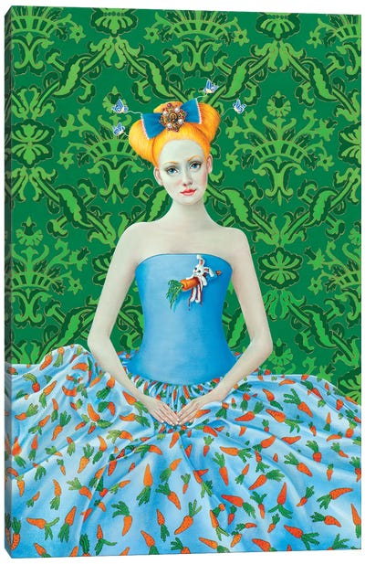 Girl With Carrot Dress Canvas Art Print