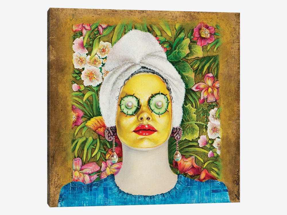 Girl With Gold Face Mask 1-piece Art Print