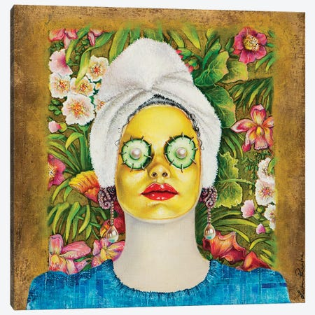 Girl With Gold Face Mask Canvas Print #LPF67} by Liva Pakalne Fanelli Canvas Art