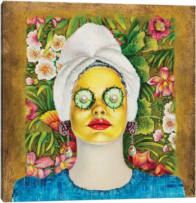Girl With Gold Face Mask Canvas Art Print