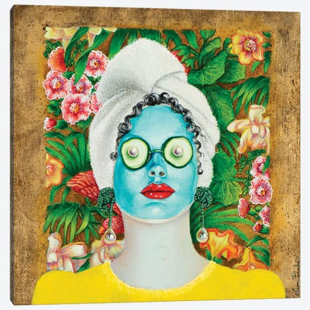 Girl With Turquoise Face Mask Canvas Print #LPF70} by Liva Pakalne Fanelli Canvas Wall Art