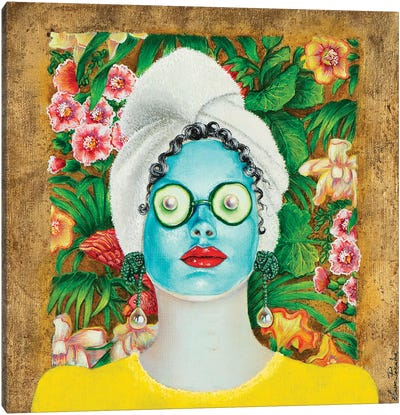 Girl With Turquoise Face Mask Canvas Art Print