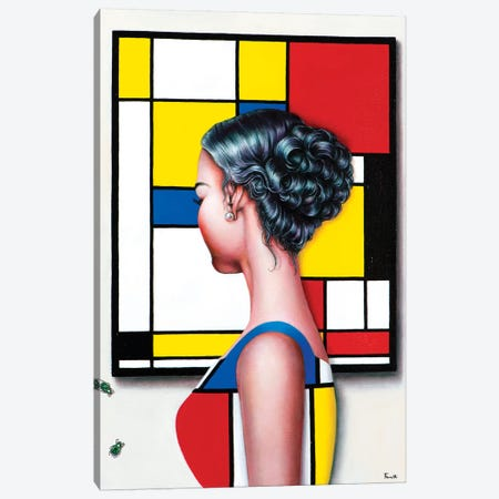 Mondrian's Art Lover II Canvas Print #LPF75} by Liva Pakalne Fanelli Canvas Art Print