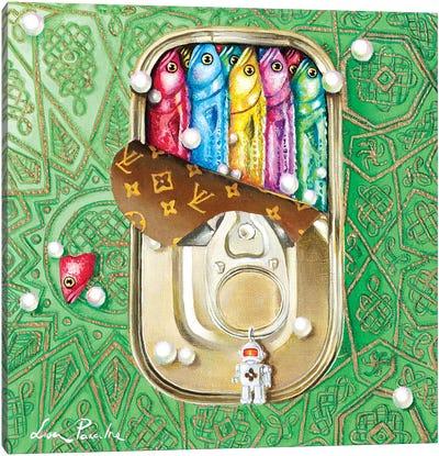 Tin Box With Sardines Canvas Art Print