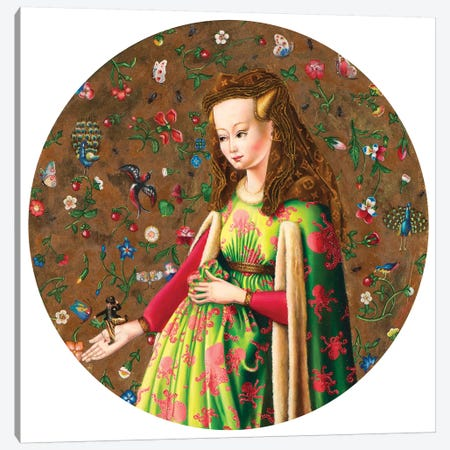 Van Eych Arnolfini Girl With Chaplin Canvas Print #LPF85} by Liva Pakalne Fanelli Canvas Wall Art