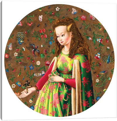 Van Eych Arnolfini Girl With Chaplin Canvas Art Print