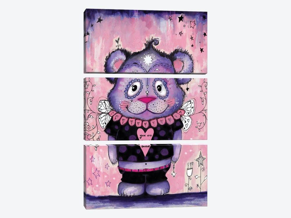 Love Bear Symmetrical by Tamara Laporte 3-piece Canvas Print