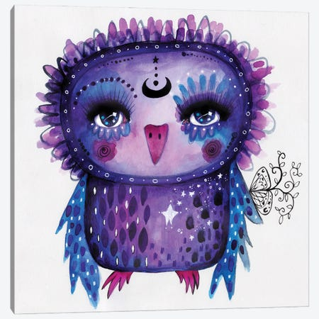 Moon Glow Quirky Bird Canvas Print #LPR126} by Tamara Laporte Canvas Artwork