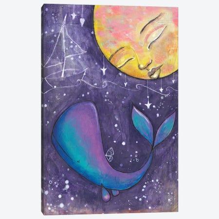 Moon Whale Canvas Print #LPR127} by Tamara Laporte Canvas Artwork