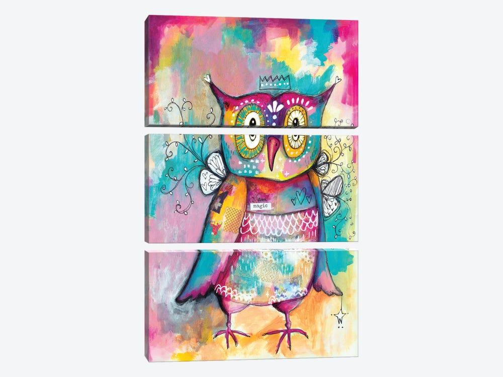 Owl Of Wisdom by Tamara Laporte 3-piece Canvas Print