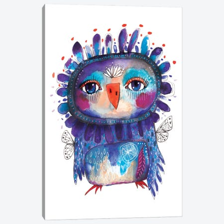 Quirky Bird Blue Canvas Print #LPR158} by Tamara Laporte Canvas Artwork