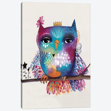 Quirky Bird On Branch Canvas Print #LPR159} by Tamara Laporte Canvas Art