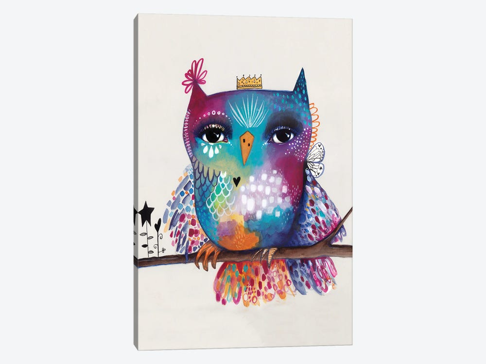 Quirky Bird On Branch by Tamara Laporte 1-piece Canvas Art Print
