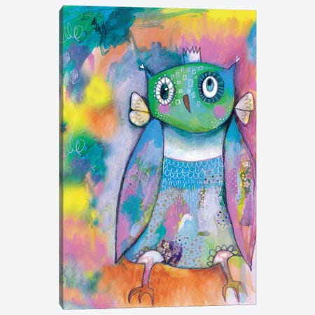 Quirky Owl Canvas Print #LPR161} by Tamara Laporte Art Print