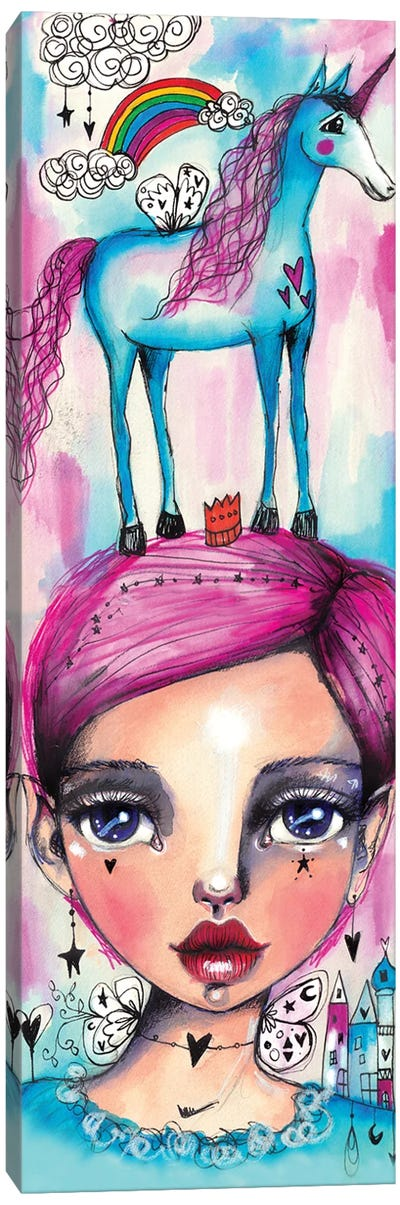 Rainbow Unicorn Girl Canvas Art Print