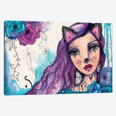 She Blooms VII-Catgirl Canvas Print #LPR180} by Tamara Laporte Canvas Art Print