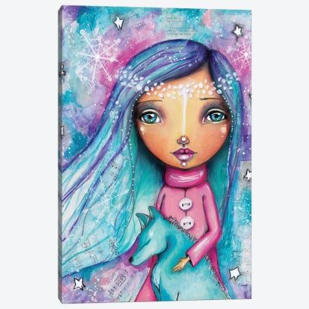 Snow Princess With Wolf Canvas Print #LPR186} by Tamara Laporte Canvas Wall Art