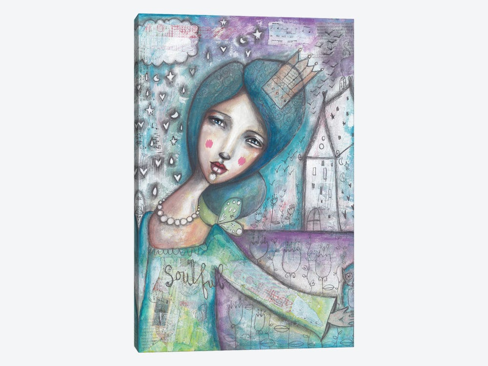 Soulful Princess With Owl by Tamara Laporte 1-piece Canvas Art Print