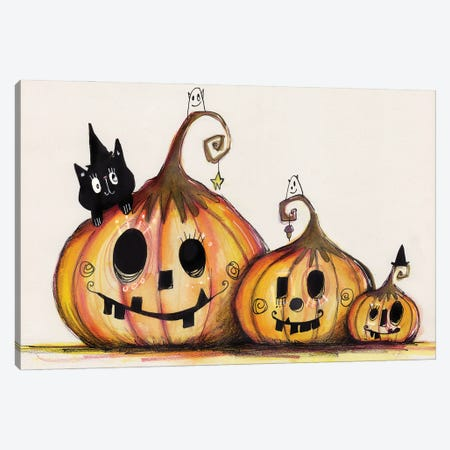 3 Pumpkins Canvas Print #LPR1} by Tamara Laporte Canvas Artwork