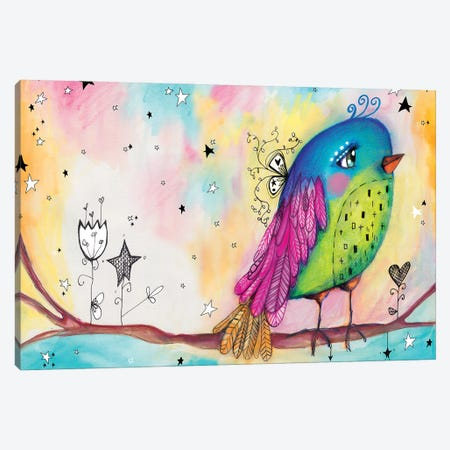 Sweet Bird With Stars Canvas Print #LPR209} by Tamara Laporte Canvas Artwork