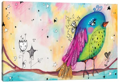 Sweet Bird With Stars Canvas Art Print