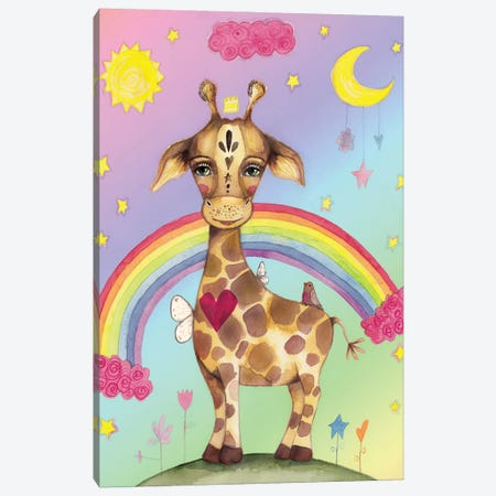 Sweet Giraffe Rainbow Background Canvas Print #LPR210} by Tamara Laporte Art Print