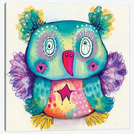 Teddy Bear Quirky Bird Canvas Print #LPR213} by Tamara Laporte Canvas Print
