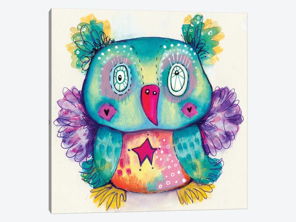 Teddy Bear Quirky Bird by Tamara Laporte 1-piece Canvas Print