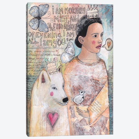 The Lady And The White Wolf Canvas Print #LPR219} by Tamara Laporte Canvas Art Print