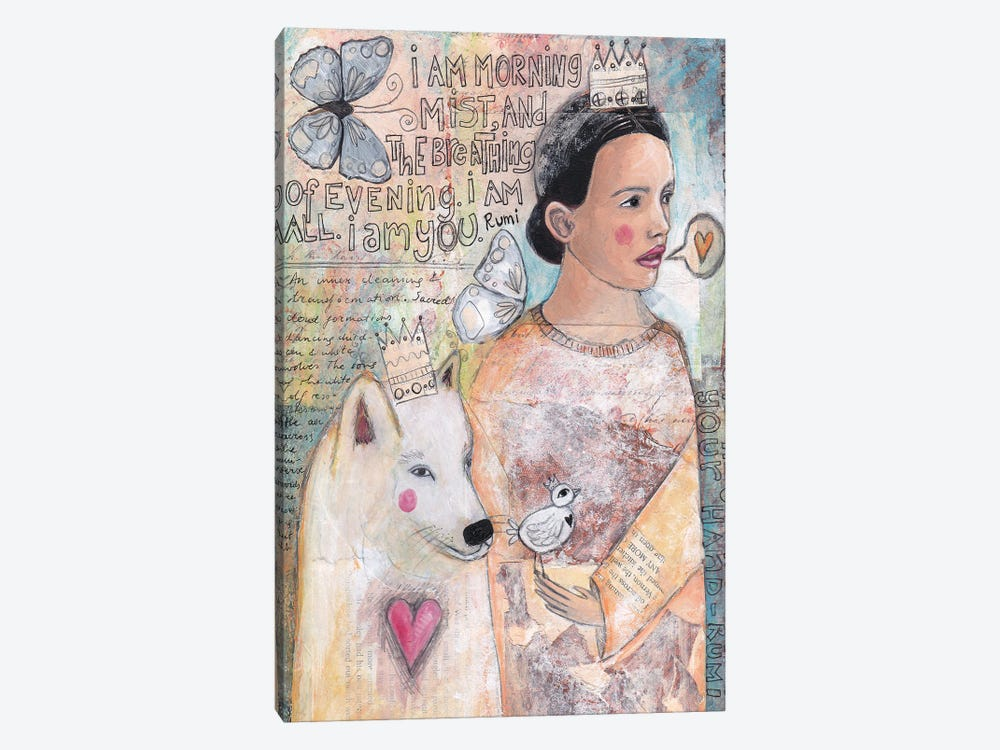 The Lady And The White Wolf by Tamara Laporte 1-piece Canvas Art Print